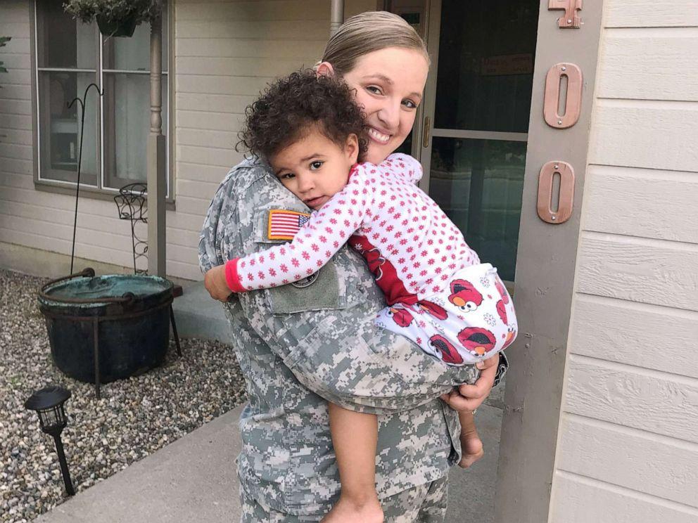 PHOTO: National Guard member Tara Fajardo Arteaga poses with her daughter 2-year-old daughter Kiara.