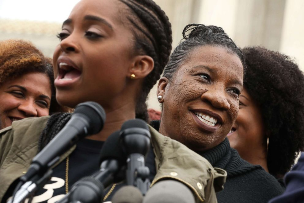 PHOTO: Me Too campaign creator Tarana Burke, right, participates in a rally against the confirmation of Supreme Court nominee Judge Brett Kavanaugh in front of the court, Sept. 24, 2018 in Washington.