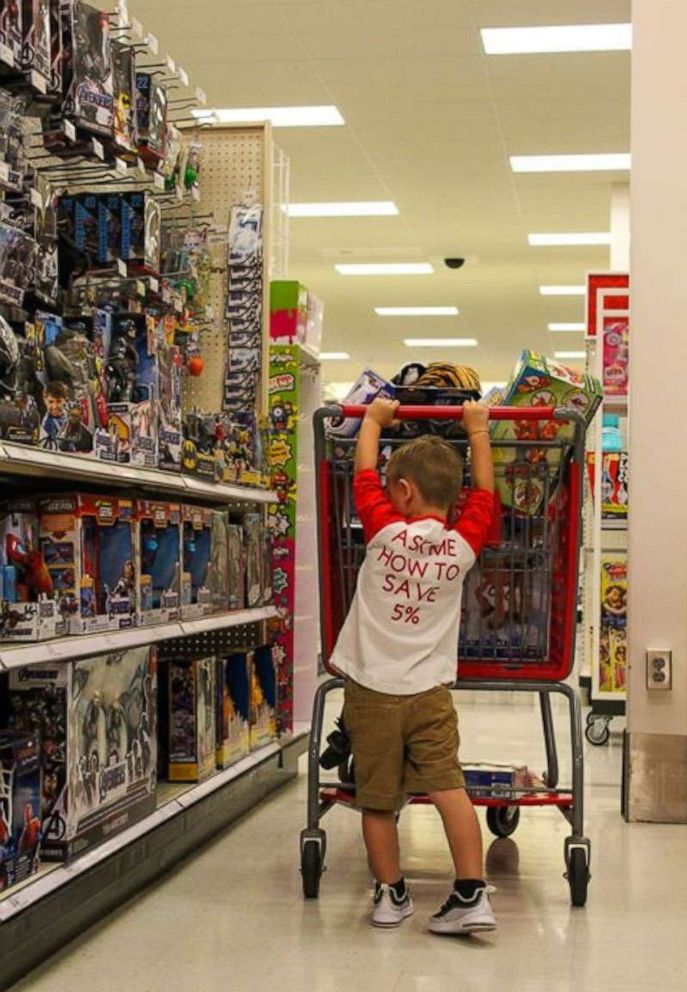 PHOTO: Cooper finished his birthday by using his employee discount to shop for toys at the store.
