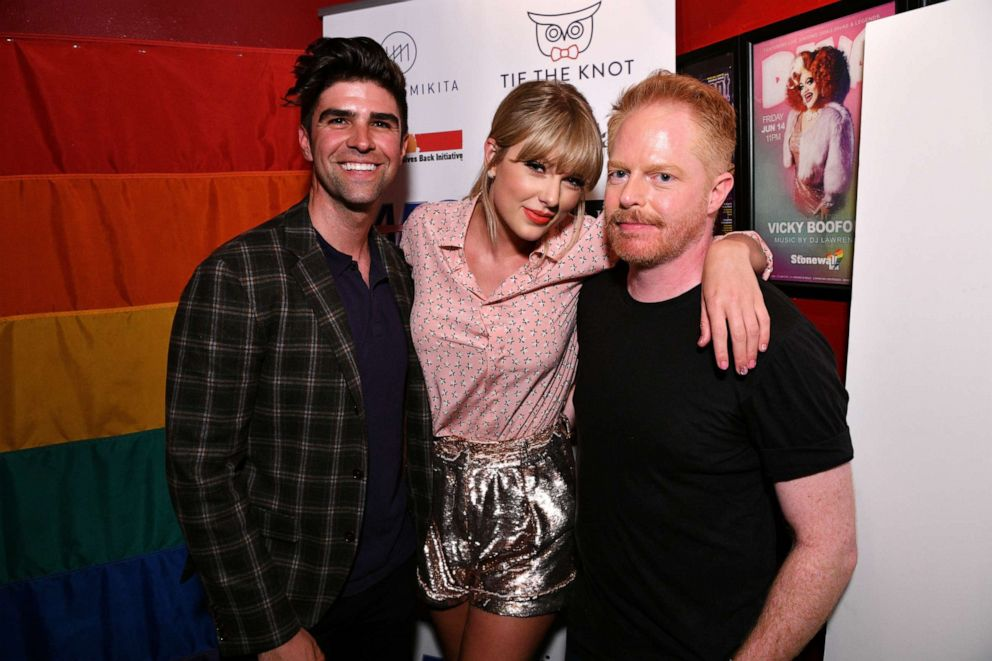 Justin Mikita, Taylor Swift, and Jesse Tyler Ferguson attend AEG and Stonewall Inns pride celebration commemorating the 50th anniversary of the Stonewall Uprising.