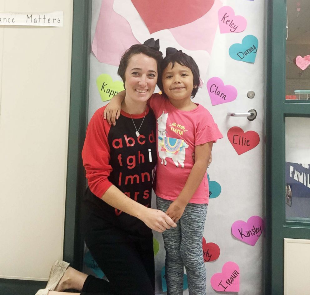 PHOTO: Teacher Shannon Grimm cut her own hair last month after kindergartner, Prisilla Perez, 5, was apparently being teased by classmates for her new haircut.
