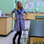 NJ teacher, Julia Mooney, is wearing the same dress for 100 days to promote sustainability and individuality.