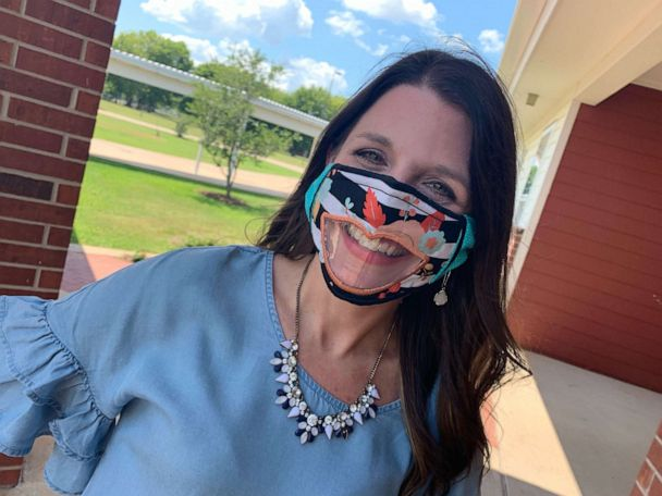 PHOTO: Leslie Bailey, an instructional coach at Legacy Elementary School in Bossier City, Louisiana, created masks with clear, vinyl windows for children with hearing loss, including those who are deaf or hard of hearing.