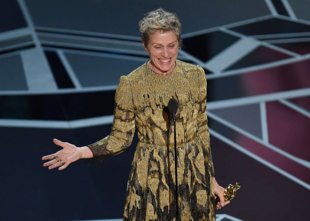 PHOTO: Frances McDormand accepts the award for best performance by an actress in a leading role at the Oscars, March 4, 2018.
