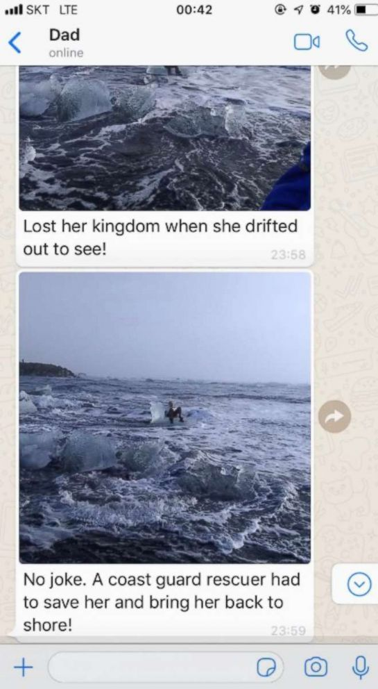 PHOTO: Rod Strengs text exchange with his daughter about what happened on their Icelandic adventure.