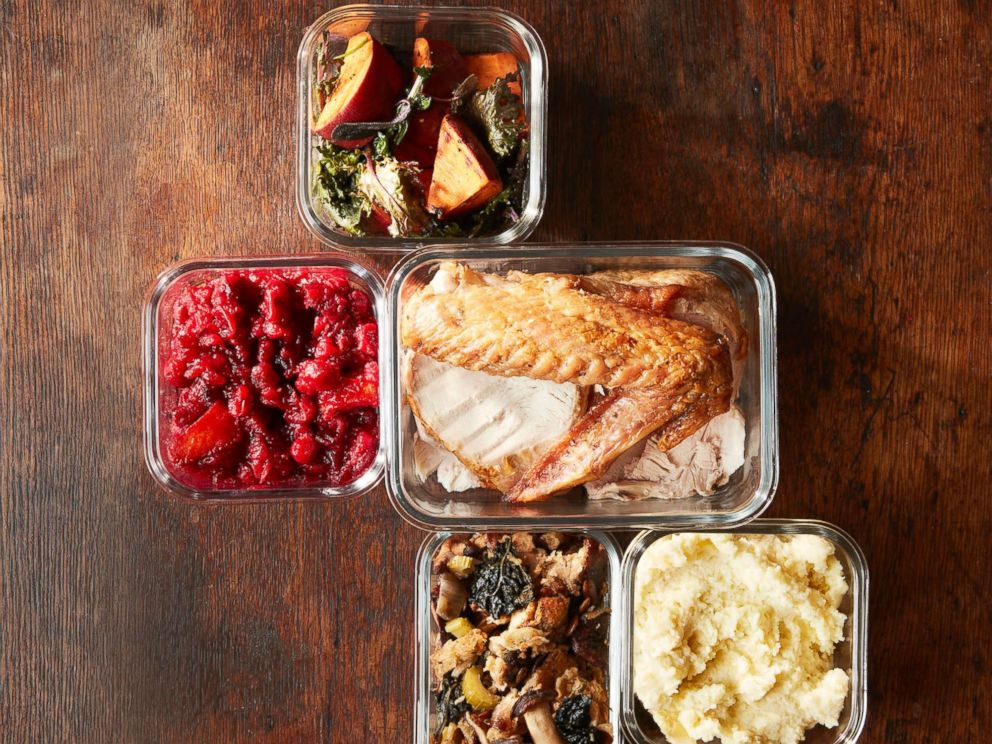 PHOTO: Stock photo of traditional Thanksgiving menu items in containers.