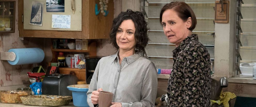 "PHOTO: Sara Gilbert and Laurie Metcalf in a scene from ""The Conners."""