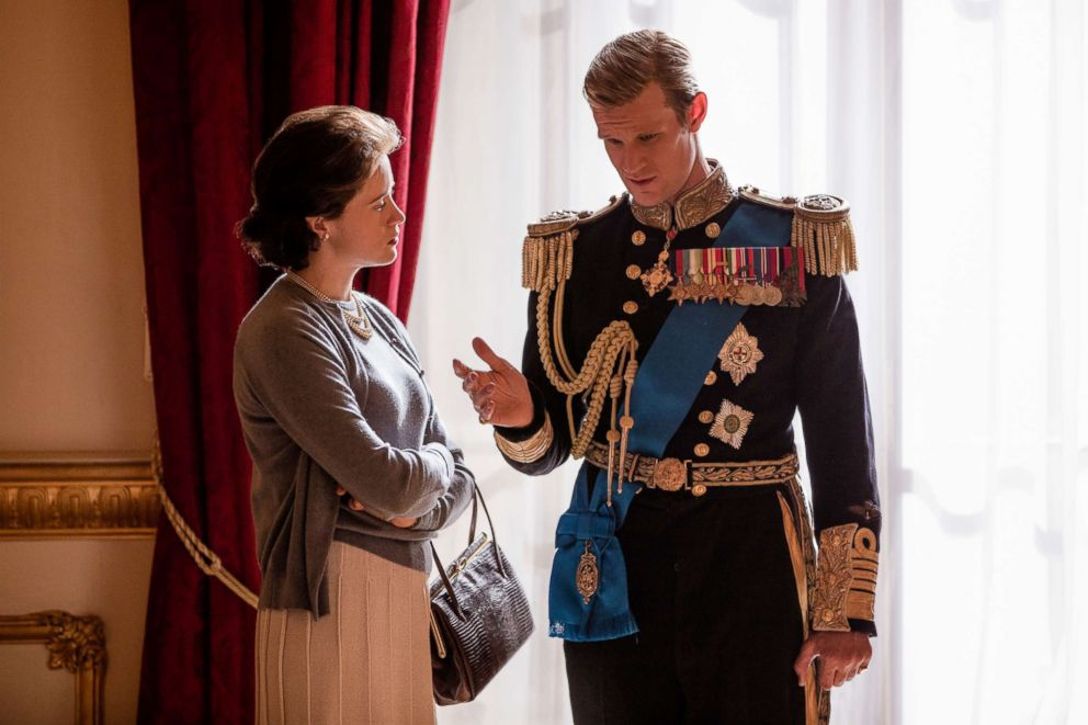 "Claire Foy and Matt Smith appear in a scene from the Netflix series, ""The Crown."""