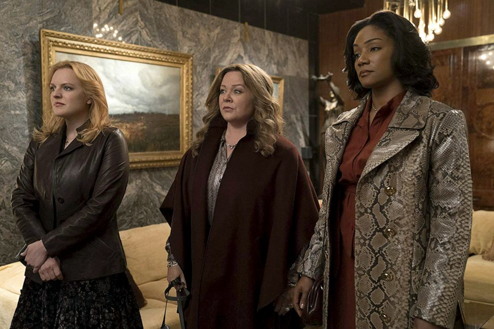 PHOTO: Elizabeth Moss, left, as Claire Walsh, Melissa McCarthy, as Kathy, and Tiffany Haddish, as Ruby OCarroll, in a scene from The Kitchen.
