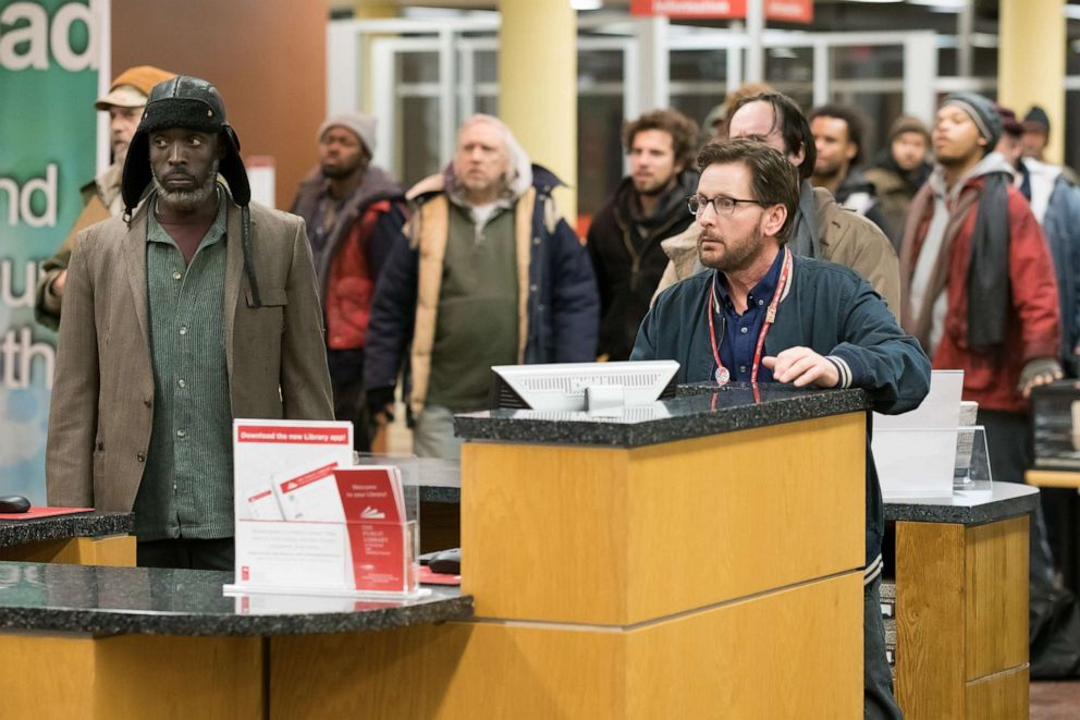 PHOTO: Michael Kenneth Williams as Jackson and Emilio Estevez as Stuart Goodson in the 2019 film, The Public.