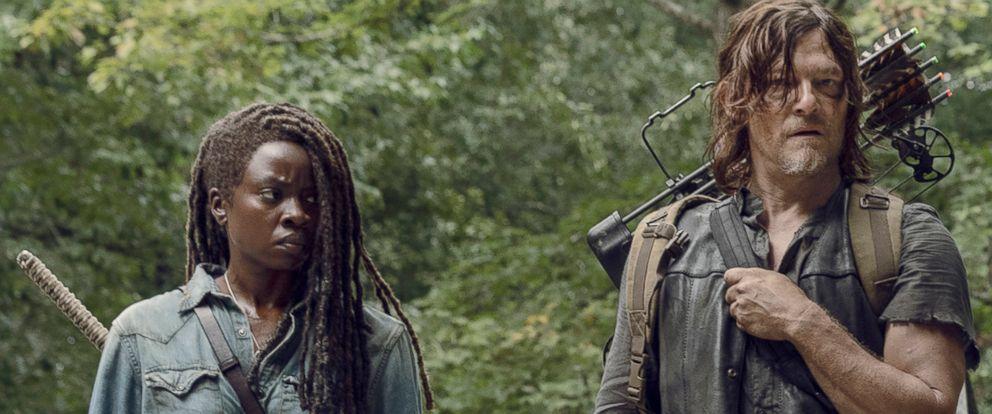 "PHOTO: Danai Gurira as Michonne and Norman Reedus as Daryl Dixon in ""The Walking Dead."""