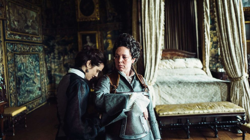 "Rachel Weisz and Olivia Colman in the film, ""The Favourite."""