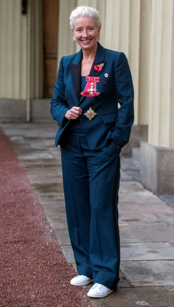 PHOTO: Emma Thompson poses with her medal and insignia after she was appointed a Dame Commander of the Order of the British Empire (DBE) at an investiture ceremony at Buckingham Palace in London, Nov. 7, 2018.