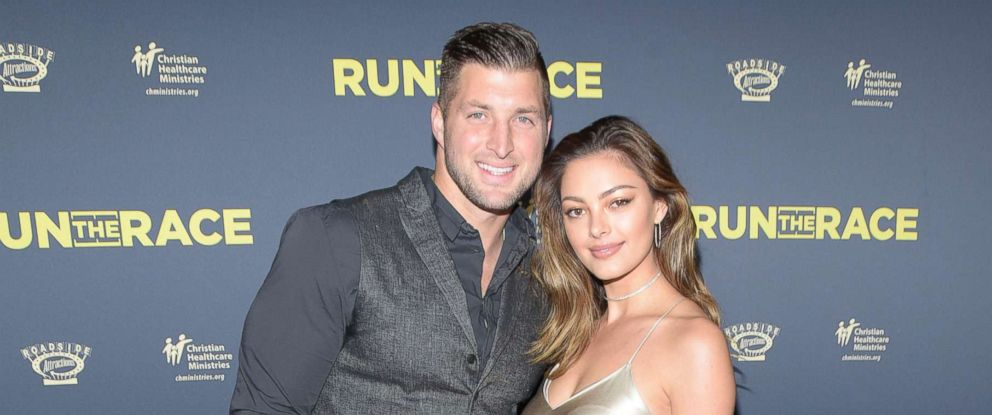 "PHOTO: Tim Tebow and Demi-Leigh Nel-Peters attend the premiere of Roadside Attractions ""Run The Race"" at the Egyptian Theatre, Feb. 11, 2019, in Hollywood, Calif."