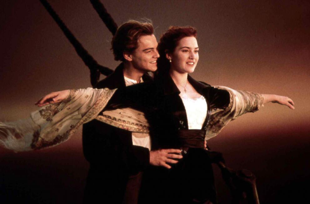 PHOTO: Leonardo DiCaprio and Kate Winslet in a scene from the film Titanic, 1997.