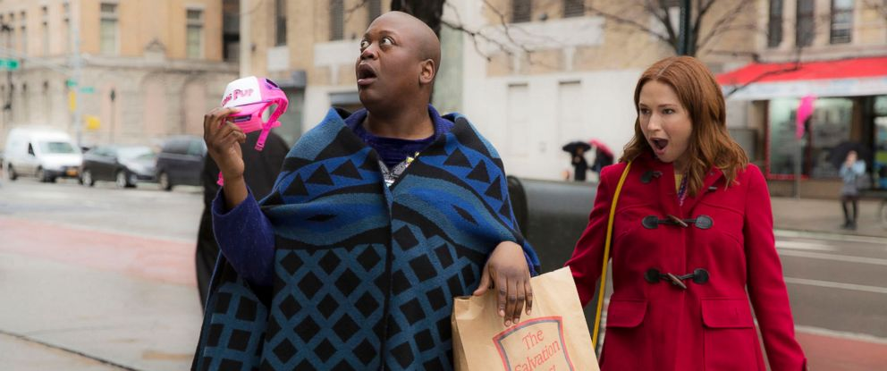 "PHOTO: Tituss Burgess and Ellie Kemper star in ""Unbreakable Kimmy Schmidt."""