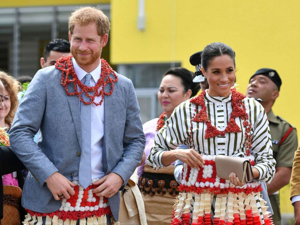 PHOTO: Prince Harry and his wife Meghan visit an exhibition of Tongan handicrafts, mats and tapa cloths at the Faonelua Convention Centre in Nukualofa, Tonga, Oct. 26, 2018.