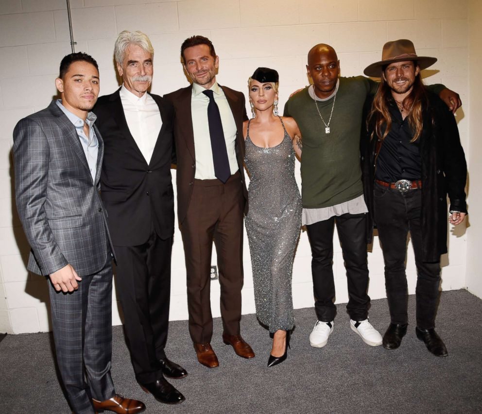PHOTO: Anthony Ramos, Sam Elliott, Bradley Cooper, Lady Gaga, Dave Chappelle, and Lukas Nelson attend the A Star Is Born premiere during 2018 Toronto International Film Festival at Roy Thomson Hall Sept. 9, 2018, in Toronto.