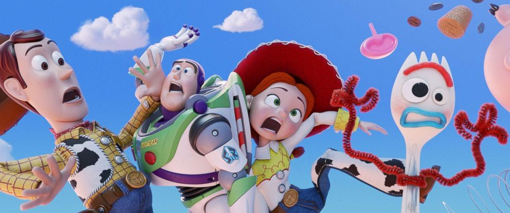 """PHOTO: A scene from the movie """"Toy Story 4,"""" with Woody, Buzz Lightyear, Jessie and Forky."""
