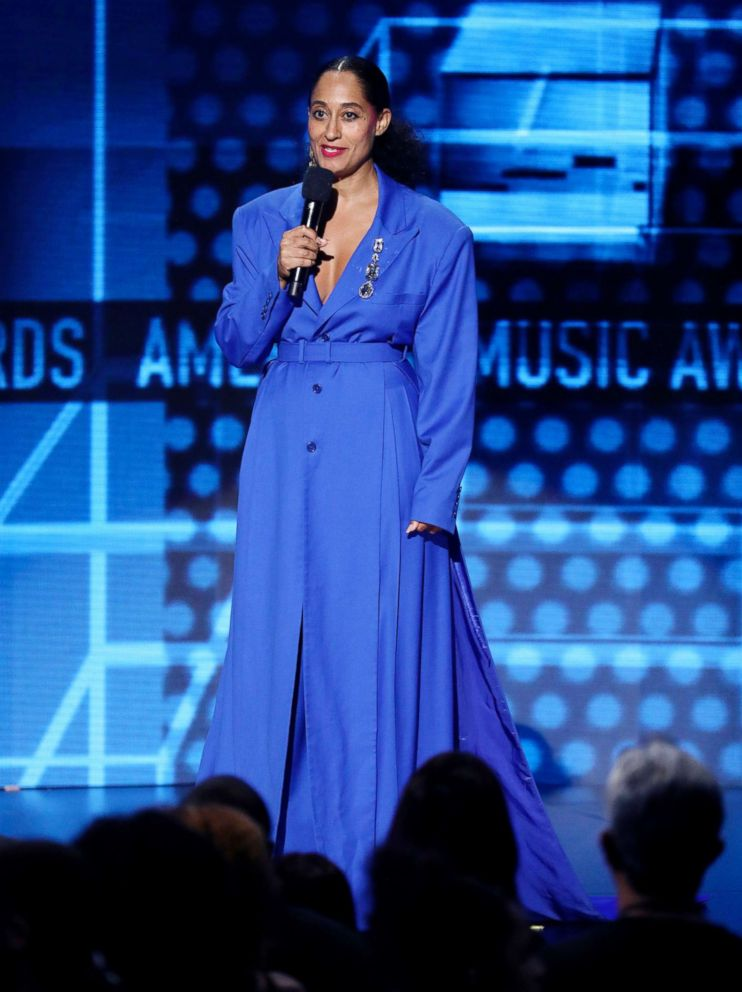 PHOTO: Host Tracee Ellis Ross speaks at the American Music Awards, Oct. 9, 2018, at the Microsoft Theater in Los Angeles.