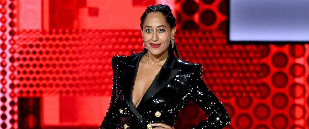 PHOTO: Tracee Ellis Ross speaks onstage during the 2018 American Music Awards at Microsoft Theater, Oct. 9, 2018, in Los Angeles.