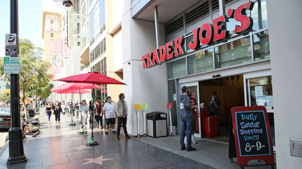 PHOTO: In this April 17, 2020, file photo, people wait in line to enter Trader Joe's in Los Angeles.