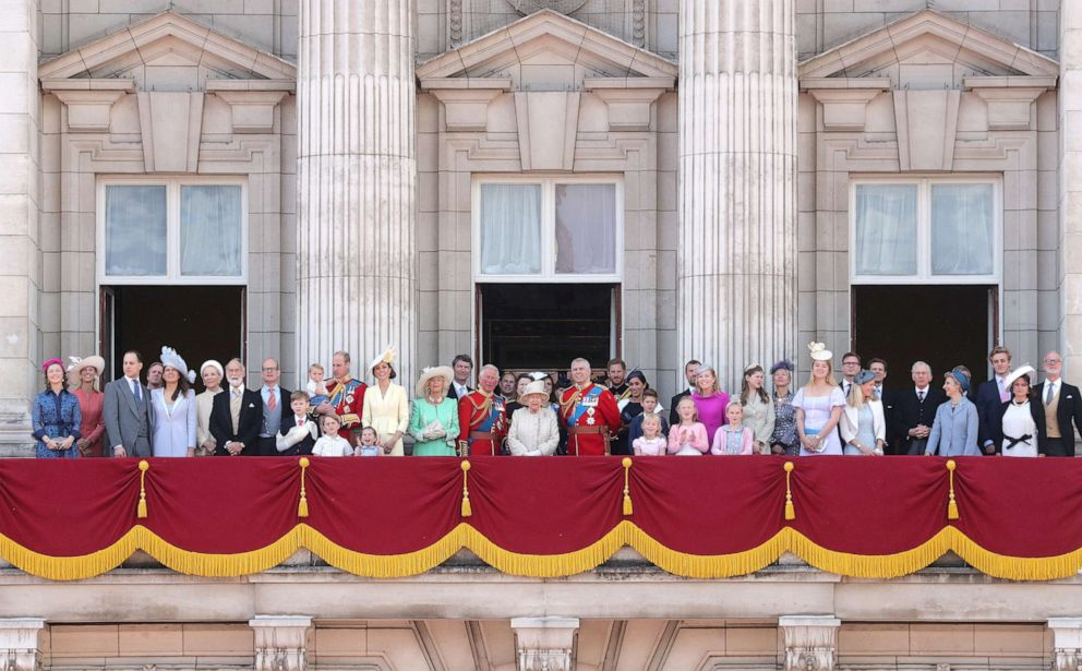 PHOTO: Members of the Royal Family stand on the balcony of Buckingham Palace to watch a fly-past of aircraft by the Royal Air Force during Trooping The Colour, the Queens annual birthday parade, on June 08, 2019, in London.