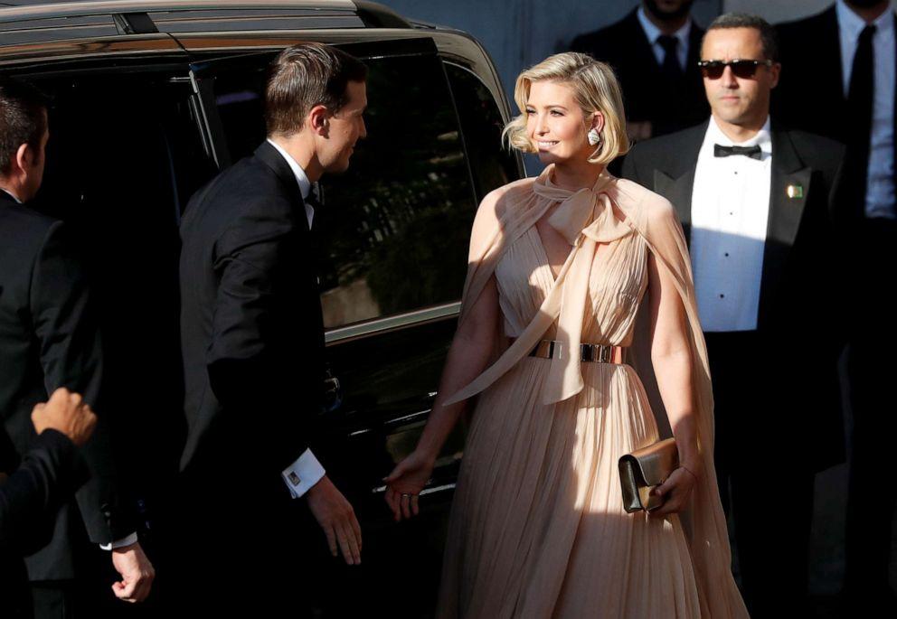 PHOTO: Ivanka Trump and her husband Senior Advisor to the President of the United States Jared Kushner arrive to attend the wedding of fashion designer Misha Nonoo at Villa Aurelia in Rome, Italy, September 20, 2019.