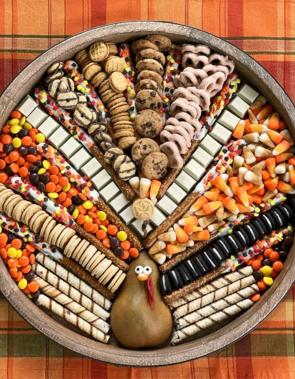 PHOTO: This festive turkey-shaped dessert board is a sweet way to celebrate Thanksgiving.
