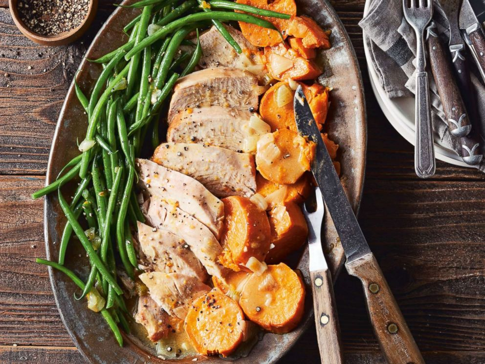 PHOTO: Turkey breast with sweet potatoes, green beans and gravy are pictured from the cookbook Skinnytaste One & Done by Gina Homolka.