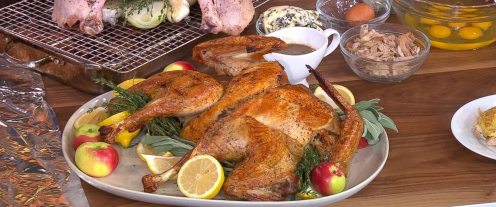 "PHOTO: Michael Symon shares his spatchcocked turkey recipe for Thanksgiving on ""GMA""."