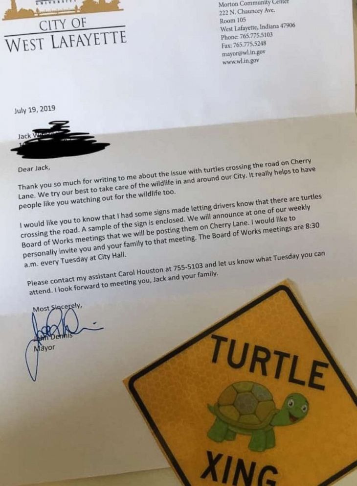 PHOTO: Jack Wietbrock, 8, wrote the letter to his mayor after saving a baby turtle crossing the road in his Indiana neighborhood.