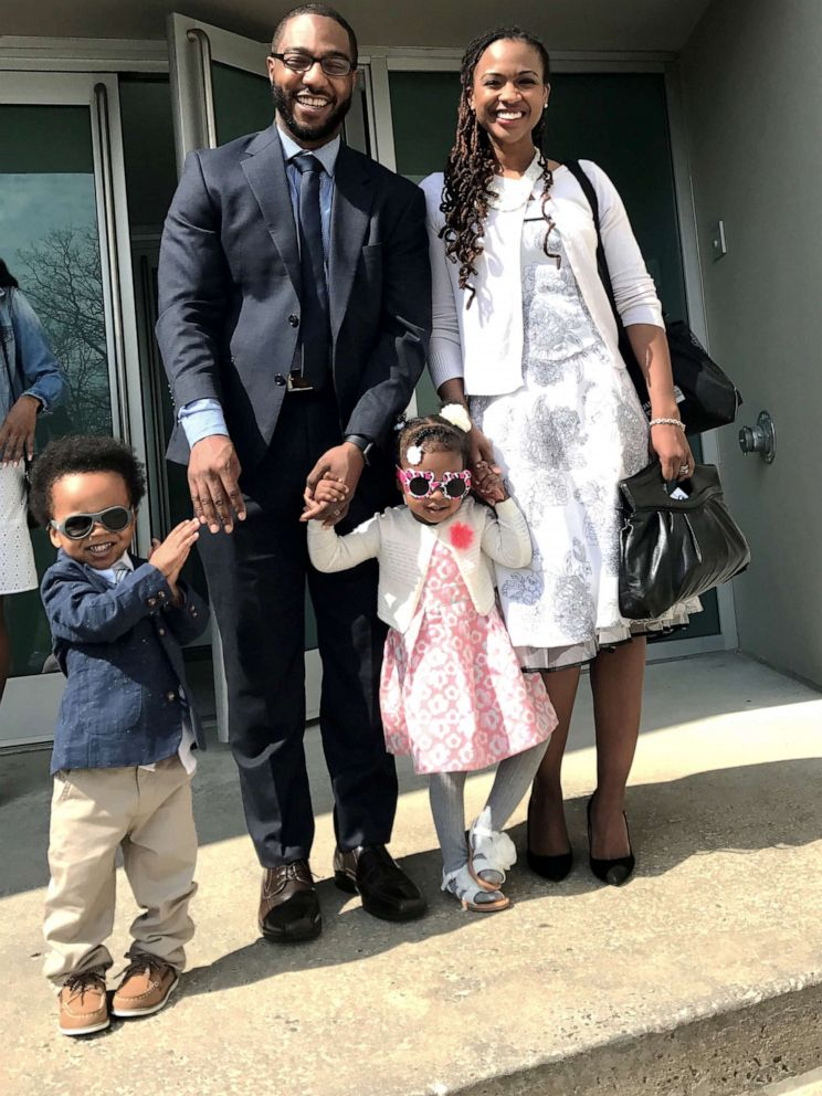 PHOTO: Alia and Chris McCants , of New York, pose with their twins, Aria and Carter.