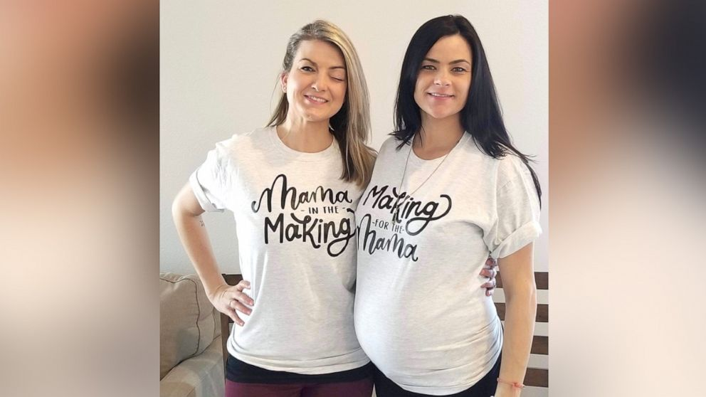 Jill Noe, 34, is carrying twins for her sister, Whitney Bliesner, 34, of Portland Oregon, and is due June 6.