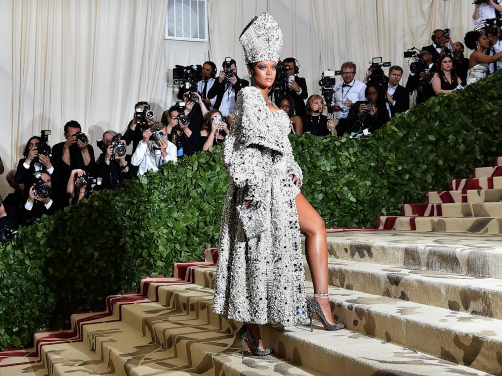 PHOTO: Rihanna arrives for the 2018 Met Gala with the theme Heavenly Bodies: Fashion and the Catholic Imagination, May 7, 2018, at the Metropolitan Museum of Art in New York.
