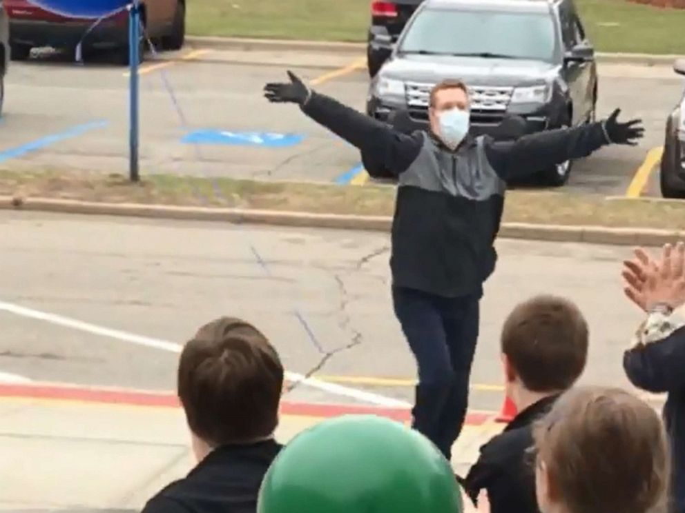 PHOTO: Tyler Krueger, 24, was greeted by peers and staff from Lake Orion Community Schools in Michigan on April 8, 2019, after he missed school for receiving a heart transplant on Sept. 6, 2018.