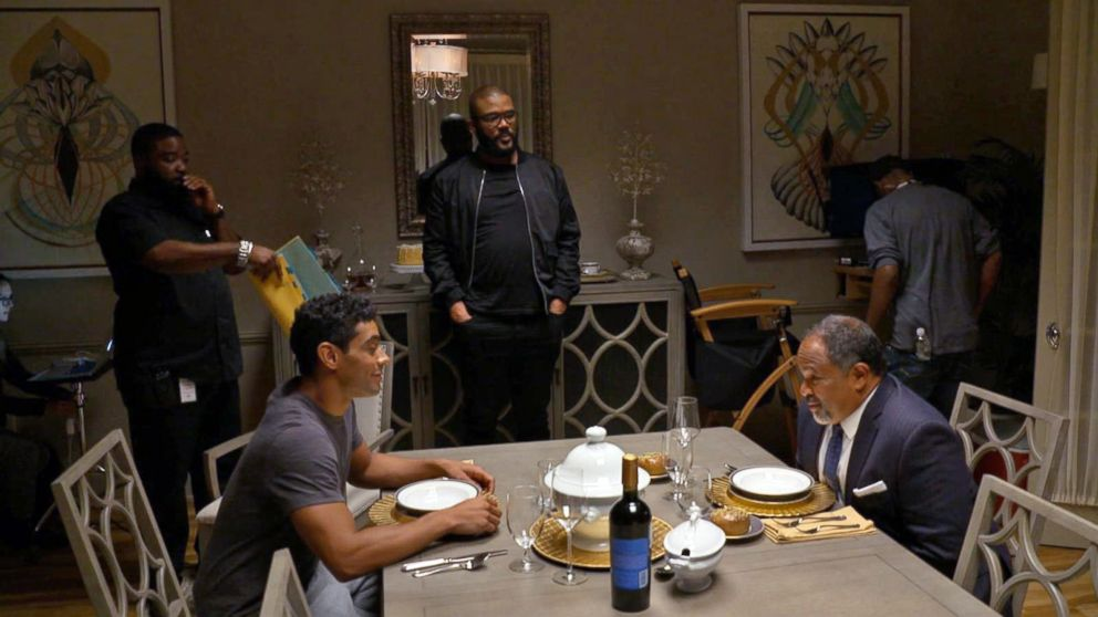 """Tyler Perry watches a scene starring Geoffrey Owens in """"The Haves and the Have Nots."""""""
