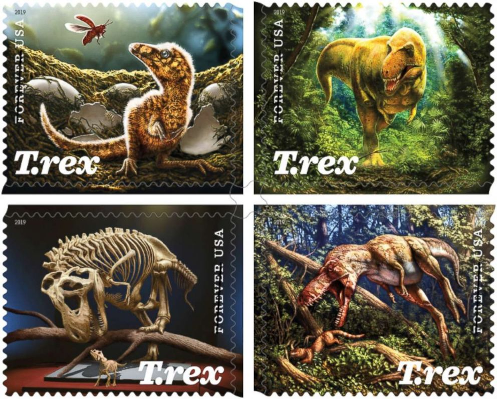 The Tyrannosaurus rex is featured in a set of forthcoming 2019 stamp designs announced by the USPS on March 12, 2019.