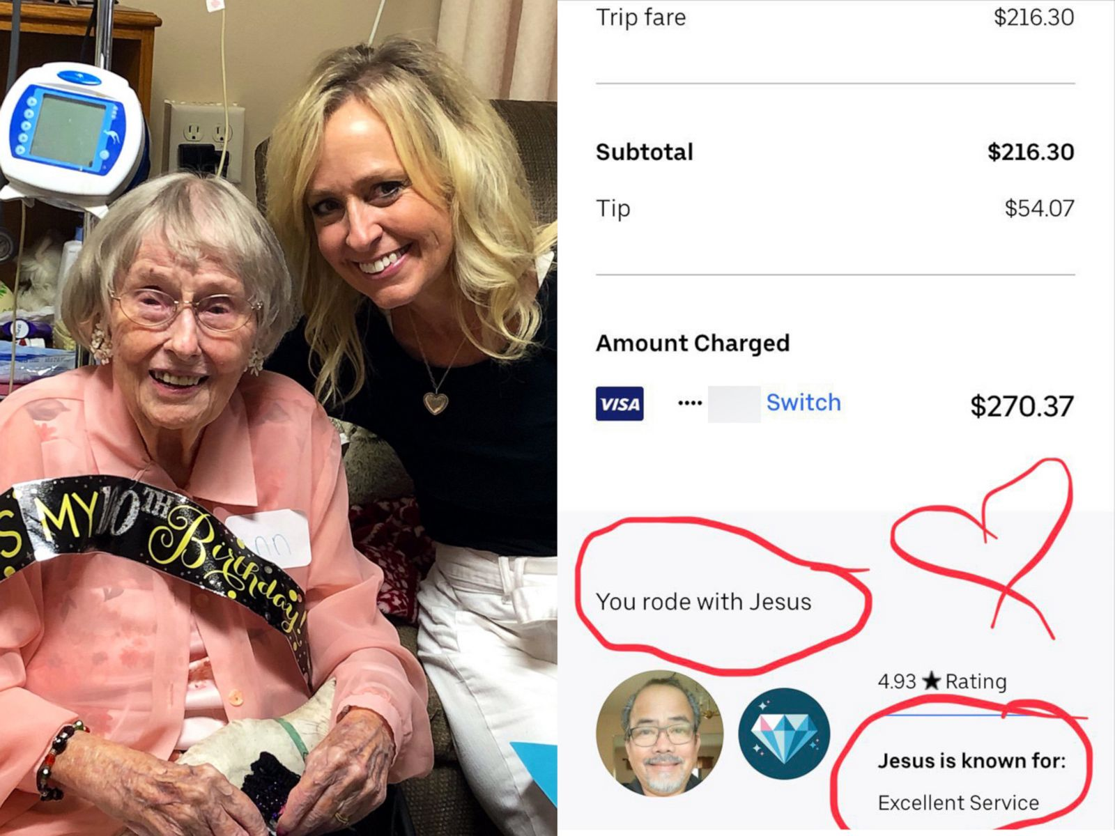 Uber driver gave woman 400-mile ride to her aunt's 100th birthday
