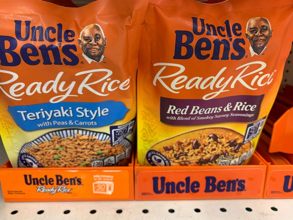 PHOTO: Bags of Uncle Ben's rice are seen on a store shelf on June 17, 2020 in Washington, D.C.
