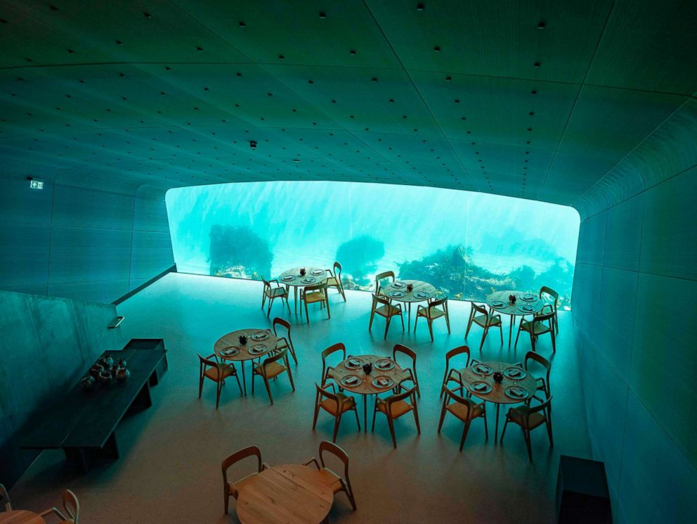 PHOTO: Interior view of a restaurant named Under, that is semi-submerged beneath the waters of the North Atlantic in Lindesnes near Kristiansand in Oslo, Norway, March 19, 2019.