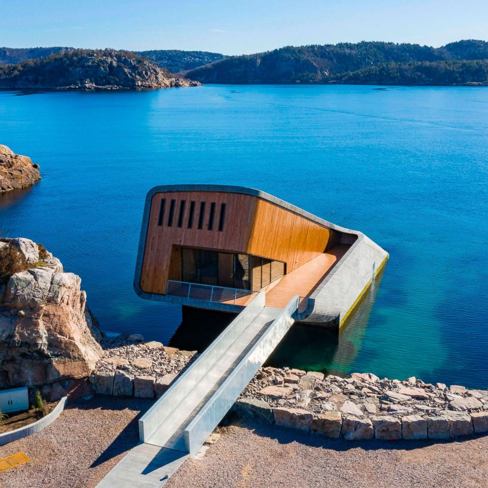 PHOTO: A restaurant named Under, that is semi-submerged beneath the waters of the North Atlantic in Lindesnes near Kristiansand in Oslo, Norway, March 19, 2019.