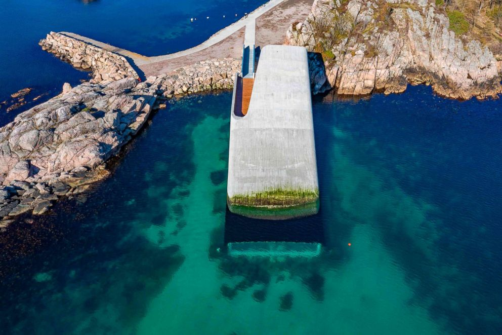 PHOTO: Aerial view shows a restaurant named Under, that is semi-submerged beneath the waters of the North Atlantic in Lindesnes near Kristiansand, Oslo, Norway, March 19, 2019.