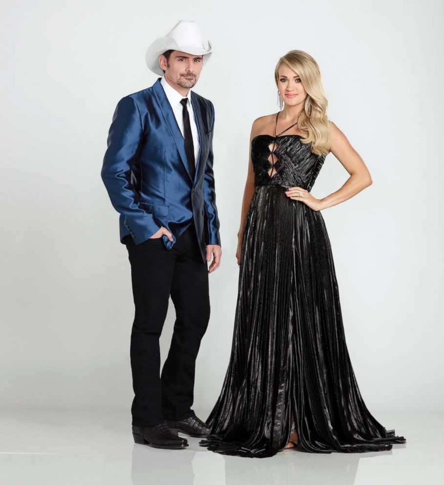 PHOTO: Country Tune superstars Brad Paisley and Carrie Underwood return to host The 52nd Annual CMA Awards, Country Musics Perfect Evening in Nashville.
