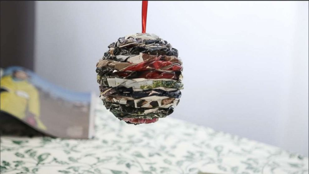 Turn old magazines into a beautiful holiday ornament.