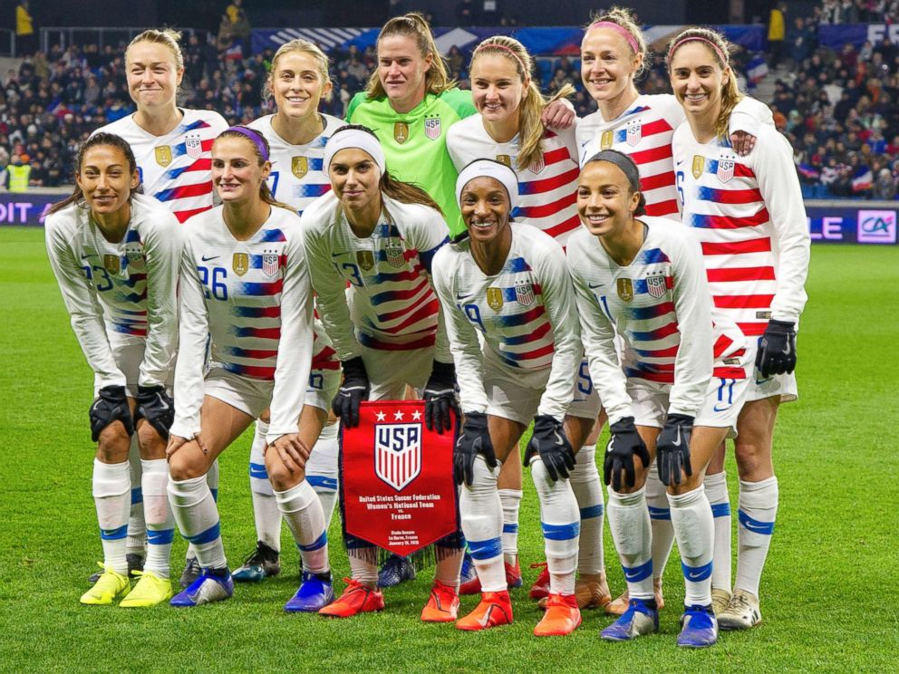 PHOTO: U.S.team soccer at the womens friendly football match between France and USA at Oceane stadium in Le Havre, France, on Jan.19, 2019.