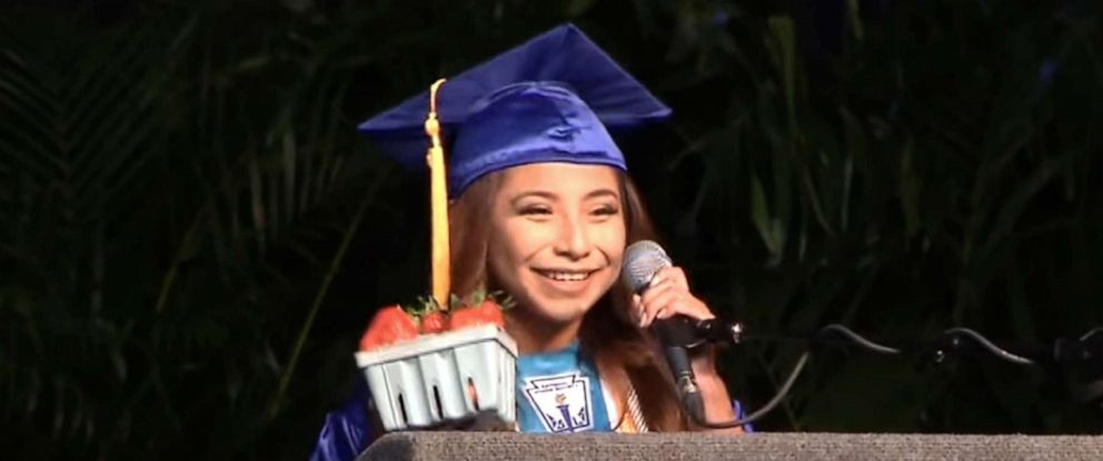PHOTO: Brenda Alvarez-Lagunas, 18, makes a valedictorian speech at Mulberry High School in Mulberry, Florida, on May 24, 2019.