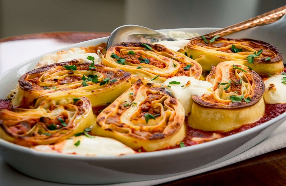 PHOTO: Don Angies famous rolled lasagna for two.