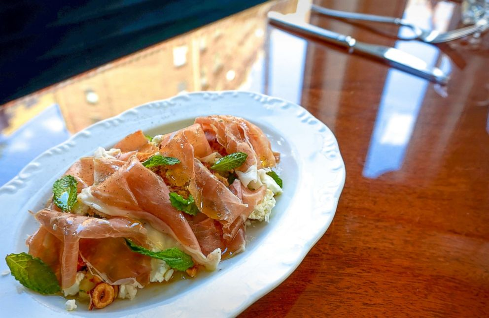 PHOTO: Don Angies prosciutto and melon salad with mint and candied hazelnuts.