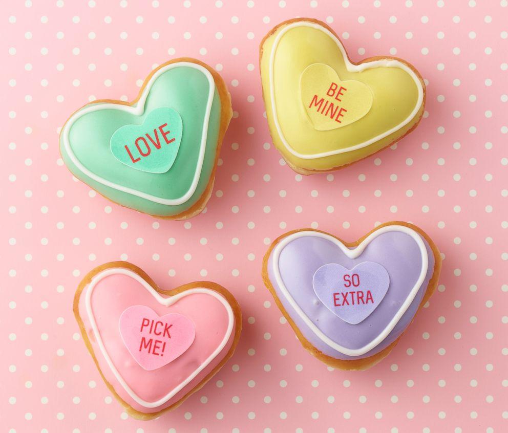 PHOTO: Krispy Kremes Valentine Conversation Doughnuts will be available Jan. 30 through Valentines Day, Feb. 14 at participating Krispy Kreme shops across the U.S.